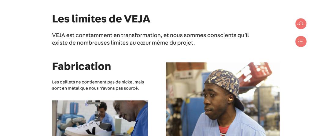 Page web de la marque Veja : les limites de Veja