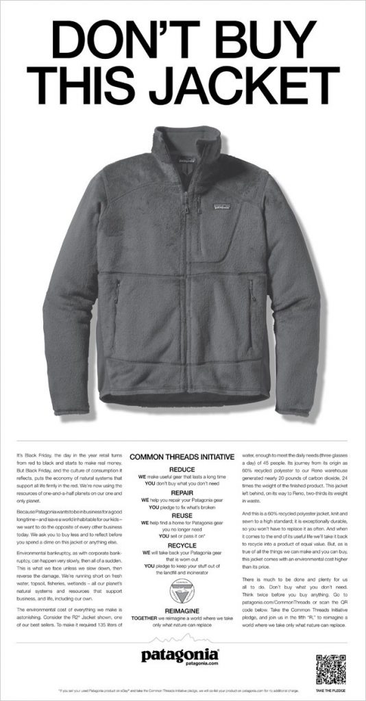 Pub de Patagonia pour le black friday : Don't buy this jacket