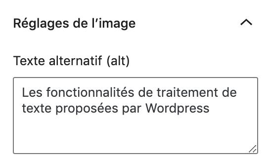 Attribut alt de l'image sur les fonctionnalités de traitement de texte proposées par WordPress