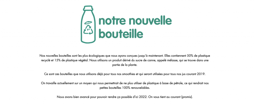 Page web de la marque Innoncent : notre nouvelle bouteille